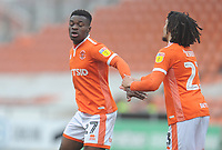 Blackpool's Marc Bola celebrates scoring his side's first goal with team-mate Nya Kirby<br /> <br /> Photographer Kevin Barnes/CameraSport<br /> <br /> The EFL Sky Bet League One - Blackpool v Plymouth Argyle - Saturday 30th March 2019 - Bloomfield Road - Blackpool<br /> <br /> World Copyright © 2019 CameraSport. All rights reserved. 43 Linden Ave. Countesthorpe. Leicester. England. LE8 5PG - Tel: +44 (0) 116 277 4147 - admin@camerasport.com - www.camerasport.com