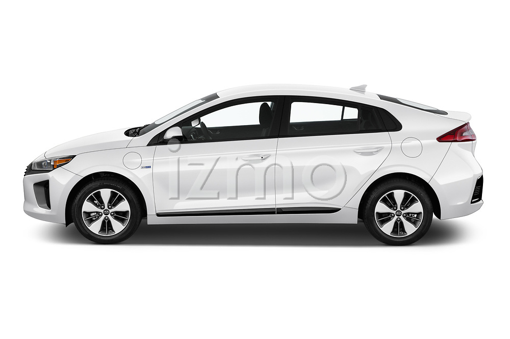 Car driver side profile view of a 2019 Hyundai Ioniq Plug-In Hybrid Base 5 Door Hatchback