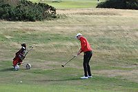 Gaelen Trew from Wales on the 3rd during Round 2 Singles of the Men's Home Internationals 2018 at Conwy Golf Club, Conwy, Wales on Thursday 13th September 2018.<br /> Picture: Thos Caffrey / Golffile<br /> <br /> All photo usage must carry mandatory copyright credit (&copy; Golffile | Thos Caffrey)