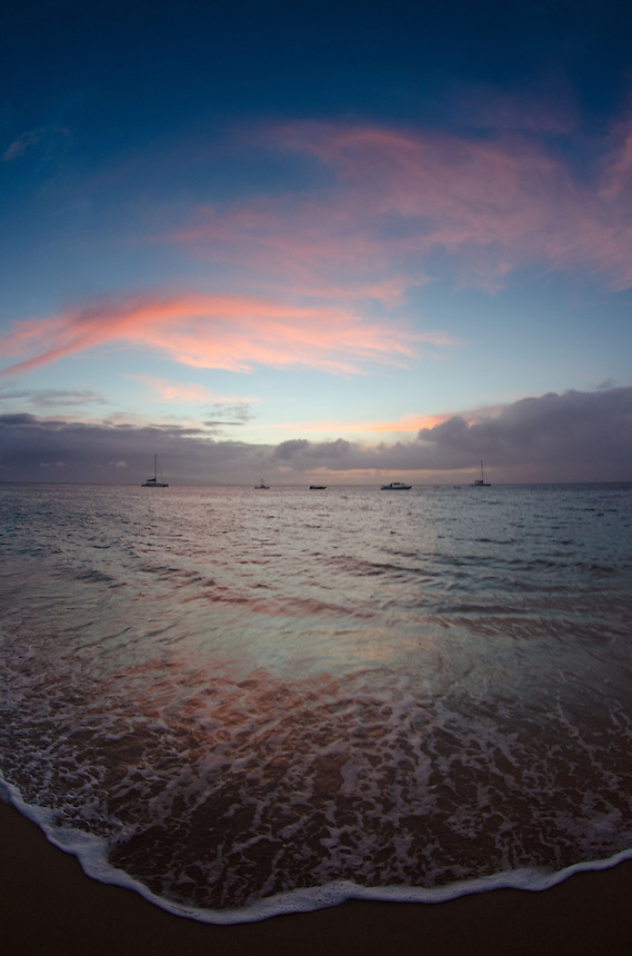 Sunset from Kaanapali Beach, Maui, Hawaii, US