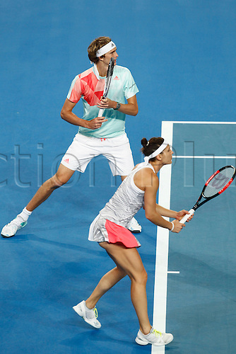 06.01.2017. Perth Arena, Perth, Australia. Mastercard Hopman Cup International Tennis tournament. Alexander Zverev and Andrea Petkovic (GER) wait on the ball to return to their side of the net during the mixed doubles against Great Britain on day 6. Germany won in straight sets 4-2, 4-2.