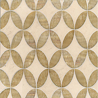 Audrey, a stone water jet mosaic, shown in Honey Onyx and Saint Richard, is part of the Ann Sacks Beau Monde collection sold exclusively at www.annsacks.com