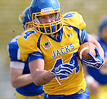 BROOKINGS, SD - APRIL 26:  Brady Mengarelli #44 from South Dakota State's offense breaks loose past the defense during their spring game Saturday at Coughlin Alumni Stadium in Brookings. (Photo by Dave Eggen/Inertia)