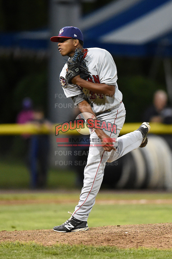 Auburn Doubledays pitcher Deibi Yrizarri (34) delivers a pitch during a game against the Batavia Muckdogs on June 14, 2014 at Dwyer Stadium in Batavia, New York.  Batavia defeated Auburn 7-2.  (Mike Janes/Four Seam Images)