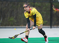 College Park, MD - April 19, 2018: \dm23\ scoops a ground ball during game between Penn St. and Maryland at  Field Hockey and Lacrosse Complex in College Park, MD.  (Photo by Elliott Brown/Media Images International)