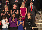 United States First Lady Melania Trump (bottom right) is applauded as she arrives at an address by President Donald J. Trump to a joint session of Congress on Capitol Hill in Washington, DC, February 28, 2017.  Also pictured at upper right is Ivanka Trump and Jared Kushner.<br /> Credit: Chris Kleponis / CNP