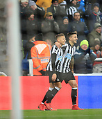9th December 2017, St James Park, Newcastle upon Tyne, England; EPL Premier League football, Newcastle United versus Leicester City; Dwight Gayle of Newcastle United is congratulated by Joselu of Newcastle United after he scored the  equaliser in the 73rd minute