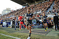 Kyle Eastmond and the rest of the Bath Rugby team run out onto the field. European Rugby Champions Cup match, between RC Toulon and Bath Rugby on January 10, 2016 at the Stade Mayol in Toulon, France. Photo by: Patrick Khachfe / Onside Images