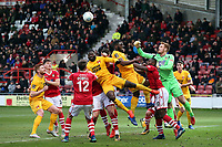 Christian Dibble GK for Wrexham clears during Wrexham vs Leyton Orient, Buildbase FA Trophy Football at the Racecourse Ground on 12th January 2019