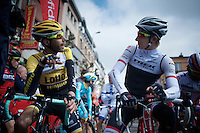 former teammates Laurens ten Dam (NLD/LottoNL-Jumbo) &amp; Bauke Mollema (NLD/Trek Factory Racing) catching up before the start<br /> <br /> 79th Fl&egrave;che Wallonne 2015