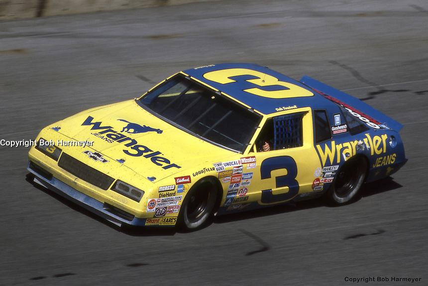 DAYTONA BEACH, FL - FEBRUARY 16: Dale Earnhardt drives his Wrangler Chevrolet during the Daytona 500 on February 16, 1986, at the Daytona International Speedway in Daytona Beach, Florida.