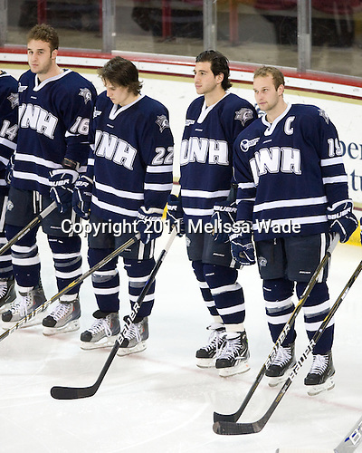 Mike Sislo (UNH - 19), Stevie Moses (UNH - 22), Phil DeSimone (UNH - 39), Mike Sislo (UNH - 19) - The Boston College Eagles defeated the visiting University of New Hampshire Wildcats 4-0 while celebrating senior night on Friday, March 4, 2011, at Conte Forum in Chestnut Hill, Massachusetts.