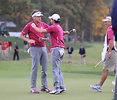 Ian Poulter and Rory McIlroy during the afternoon fourballs on Saturday at the Ryder Cup 2012, Medinah Country Club,Medinah, Illinois,USA 27/09/2012.Picture: Fran Caffrey/www.golffile.ie.