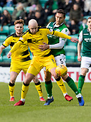 9th February 2019, Easter Road, Edinburgh, Scotland; Scottish Cup football fifth round, Hibernian versus Raith Rovers; Grant Gillespie of Raith Rovers and Mark Milligan of Hibernian compete for possession of the ball