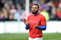 Kahn Fotuali'i of Bath Rugby shouts out encouragement during the pre-match warm-up. Gallagher Premiership match, between Gloucester Rugby and Bath Rugby on April 13, 2019 at Kingsholm Stadium in Gloucester, England. Photo by: Patrick Khachfe / Onside Images