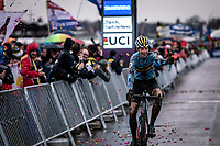 Lennart Belmans (BEL) congratulating Thibau Nys while crossing the finish line in 2nd<br /> <br /> Men's Junior race<br /> UCI 2020 Cyclocross World Championships<br /> Dübendorf / Switzerland<br /> <br /> ©kramon