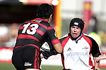 Blair Feeney is confronted by ex Steeler Casey Laulala during the Ranfurly Shield challenge against Canterbury at Jade Stadium on the 10th of September 2006. Canterbury won 32 - 16.