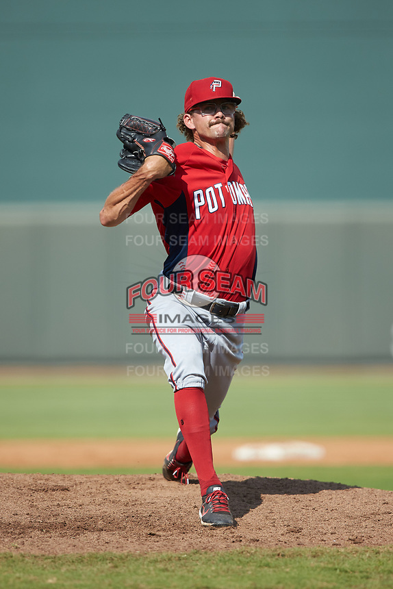 Potomac Nationals relief pitcher Taylor Guilbeau (21) in action against the Winston-Salem Rayados at BB&T Ballpark on August 12, 2018 in Winston-Salem, North Carolina. The Rayados defeated the Nationals 6-3. (Brian Westerholt/Four Seam Images)