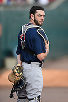 Pawtucket Red Sox catcher Blake Swihart (2) during the national anthem before a game against the Buffalo Bisons on August 23, 2014 at Coca-Cola Field in Buffalo, New  York.  Buffalo defeated Pawtucket 15-2.  (Mike Janes/Four Seam Images)