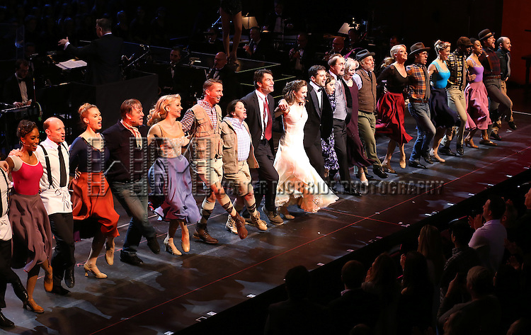 "Jack McBrayer, Rachel Dratch, Jerry O'Connell, Laura Osnes, Tony Yazbeck, Rachel Bloom, Harry Groener, Nancy Opel, Mark Linn-Baker with cast during the Manhattan Concert Productions 25th Anniversary concert performance of ""Crazy for You"" at David Geffen Hall, Lincoln Center on February 19, 2017 in New York City."