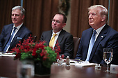 United States President Donald J. Trump, right, Acting White House Chief of Staff Mick Mulvaney, center,  and United States National Security Advisor Robert C. O'Brien attend a luncheon with the Permanent Representatives of the United Nations Security Council in the Cabinet Room of the White House on December 5, 2019 in Washington, DC.<br /> Credit: Oliver Contreras / Pool via CNP