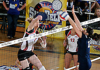 WKU m iddle hitter Tiffany Elmore (7) plays against Florida International in the semi-finals of the Sunbelt Conference Volleyball Tournament.  Western Kentucky won the match 3-0 on November 18, 2011 at Miami, Florida. .
