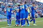 Players of Getafe CF celebrate goal during UEFA Europa League match between Getafe CF and Trabzonspor at Coliseum Alfonso Perez in Getafe, Spain. September 19, 2019. (ALTERPHOTOS/A. Perez Meca)