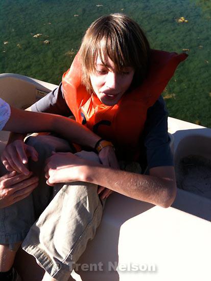 . Saturday, September 12 2009.Noah Nelson Nathaniel Nelson on pond in canoe at godfrey's