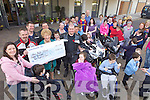 FUNDS: Bridie Murphy, principal of the Nano Nagle School in Listowel accecpting a cheque for EUR7,200 from the proceeds of the recent Poker Run organised by local bikers.