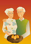 Illustrative concept of couple with gold eggs representing pension