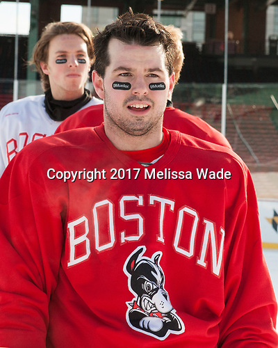 Gabriel Chabot (BU - 10) - The Boston University Terriers practiced on the rink at Fenway Park on Friday, January 6, 2017.The Boston University Terriers practiced on the rink at Fenway Park on Friday, January 6, 2017.