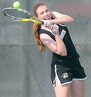 NWA Media/ J.T. Wampler - Bentonville High School's Mallery Tabler plays Thursday Oct. 9, 2014 during the 7A-West Conference boys tennis tournament at Springdale Har-Ber High School in Springdale.