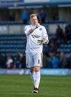 Goalkeeper Ryan Allsop (Loanee from Bournemouth) of Wycombe Wanderers gives thumbs up at full time during the Sky Bet League 2 match between Wycombe Wanderers and Barnet at Adams Park, High Wycombe, England on 16 April 2016. Photo by Andy Rowland.