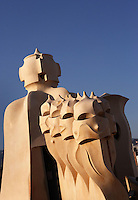Chimneys, Roof, La Pedrera (Casa Milà), Barcelona, Catalonia, Spain, built by Antoni Gaudí (Reus 1852 ? Barcelona 1926), 1906 - 1910, for  Milà Family, with Joan Beltran as a plaster and with Josep Maria Jujol as architect collaborator. One of the main Gaudi residential buildings. Picture by Manuel Cohen