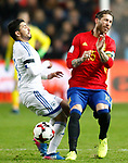Spain's Sergio Ramos (r) and Israel's Bribas Natcho during FIFA World Cup 2018 Qualifying Round match. March 24,2017.(ALTERPHOTOS/Acero)