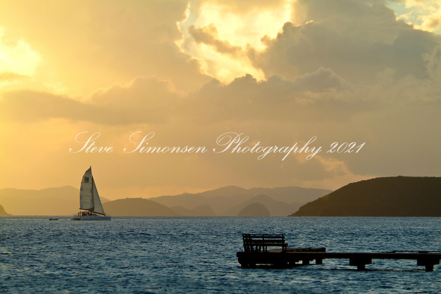 Sunset over Sir Francis Drake .from West End.Tortola, BVI