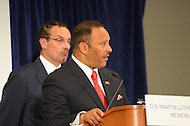 August 25, 2011 (Washington, DC)  DC Mayor Vincent Gray (D-DC) (r) listens as Marc Morial, CEO of the National Urban League, speaks at a press conference about plans for the King Memorial Dedication as Hurricane Irene sets a path for the east coast.  (Photo by Don Baxter/Media Images International)