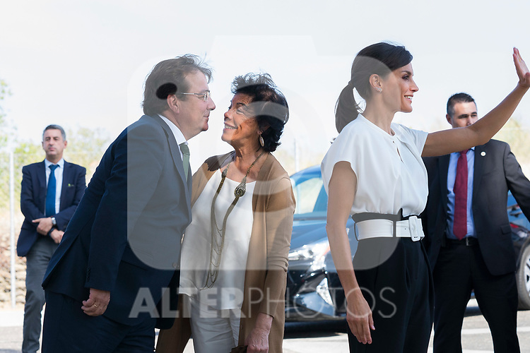 President of Extremadura Guillermo Fernandez Vara (l), Education Minister Isabel Celaa and Queen Letizia of Spain  (l) during the opening of School Year in Torrejoncillo (Caceres). September 17, 2019. (ALTERPHOTOS/Francis Gonzalez)