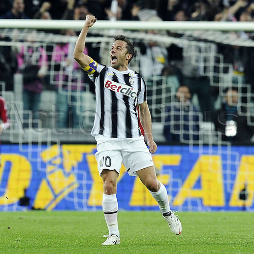 20.03.2012. Turin, Italy.  Coppa Italia versus Juventus Milan. Phtoo shows the celebrations from Alessandro DEL Piero  The game ended in a 2-2 draw with Juventus going through to the next round 4-3 on aggregate.