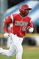 Batavia Muckdogs outfielder Miles Williams (26) runs to first during a game against the Lowell Spinners on July 16, 2014 at Dwyer Stadium in Batavia, New York.  Lowell defeated Batavia 6-4.  (Mike Janes/Four Seam Images)
