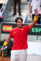 Rafa Nadal during the qualification for the Davis Cup in Caja Magica, Madrid. September 13, 2013. (ALTERPHOTOS/Victor Blanco)
