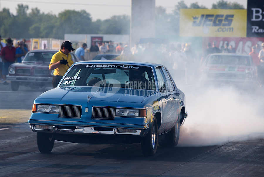Aug. 30, 2013; Clermont, IN, USA: NHRA super stock driver Owen Birkett during qualifying for the US Nationals at Lucas Oil Raceway. Mandatory Credit: Mark J. Rebilas-