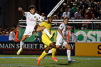 New York Cosmos player Walter Restrepo (L ) fights for the ball against Tampa Bay Rowdies player Darnell King during their soccer match in the North American Soccer League in New York. Eduardo MunozAlvarez/VIEWpress 04/18/2015