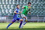Wai Wong of Wofoo Tai Po (R) plays against Kitchee Midfielder Huang Yang (L) during the Hong Kong FA Cup final between Kitchee and Wofoo Tai Po at the Hong Kong Stadium on May 26, 2018 in Hong Kong, Hong Kong. Photo by Marcio Rodrigo Machado / Power Sport Images
