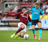 Northampton Town's Matt Crooks competing with Fleetwood Town's Conor McAleny <br /> <br /> Photographer Andrew Kearns/CameraSport<br /> <br /> The EFL Sky Bet League One - Northampton Town v Fleetwood Town - Saturday August 12th 2017 - Sixfields Stadium - Northampton<br /> <br /> World Copyright &copy; 2017 CameraSport. All rights reserved. 43 Linden Ave. Countesthorpe. Leicester. England. LE8 5PG - Tel: +44 (0) 116 277 4147 - admin@camerasport.com - www.camerasport.com