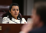 Nevada Assemblywoman Olivia Diaz, D-North Las Vegas, works in committee at the Legislative Building in Carson City, Nev., on Tuesday, April 14, 2015.<br /> Photo by Cathleen Allison