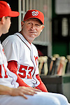 18 May 2012: Washington Nationals Bench Coach Randy Knorr chats in the dugout prior to a game against the Baltimore Orioles at Nationals Park in Washington, DC. The Orioles defeated the Nationals 2-1 in the first game of their 3-game series. Mandatory Credit: Ed Wolfstein Photo