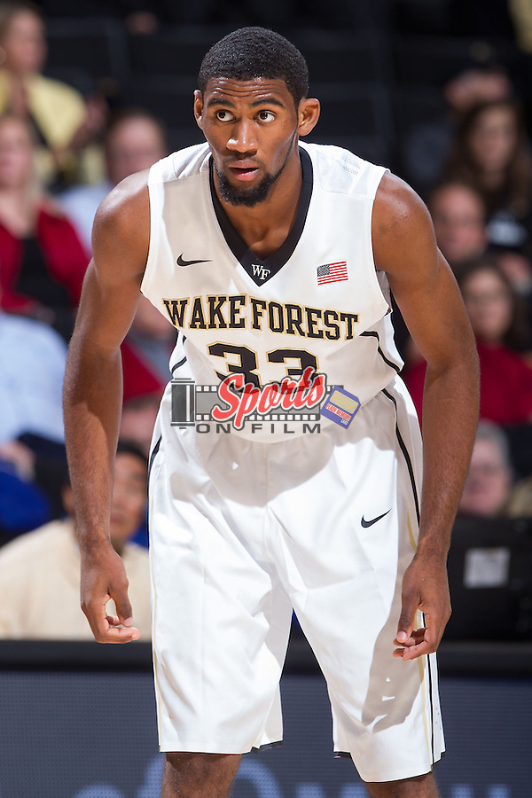 Aaron Rountree III (33) of the Wake Forest Demon Deacons on defense during first half action against the Brevard Tornados at the LJVM Coliseum on November 1, 2013 in Winston-Salem, North Carolina.  The Demon Deacons defeated the Tornados 93-66. (Brian Westerholt/Sports On Film)