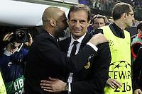 MILAO, ITALIA, 28 DE MARCO 2012 - CHAMPIONS LEAGUE - Joseph Guardiola (E) tecnico do Barcelona e o tecnico do Milan Massimiliano Allegri em partida de ida das quartas de finais da Champion League no Estadio San Siro em Milao na Italia. A partida terminou em 0 a 0.  (FOTO: DANIELE BUFFA / PIXATHLON / BRAZIL PHOTO PRESS).
