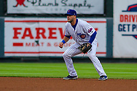Iowa Cubs infielder David Bote (15) gets into defensive position during a Pacific Coast League game against the Colorado Springs Sky Sox on June 22, 2018 at Principal Park in Des Moines, Iowa. Iowa defeated Colorado Springs 4-3. (Brad Krause/Four Seam Images)